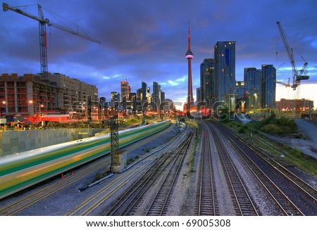 Downtown Toronto from the bridge in HDR - stock photo