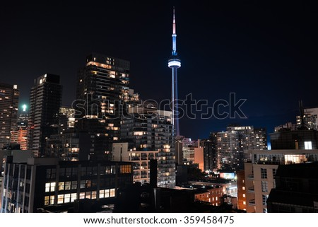 Downtown Toronto in the night - stock photo