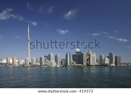 Downtown Toronto view from Lake of Ontario