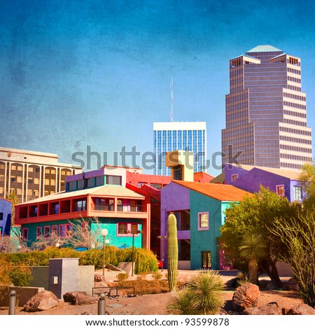 Downtown Tucson, Arizona with la Placita - stock photo