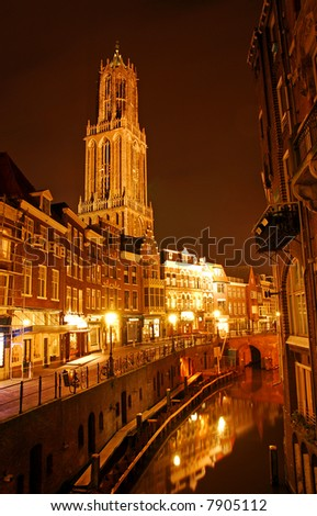 Downtown Utrecht, The Netherlands. It's dark. - stock photo