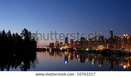 downtown Vancouver coal harbor  before sunrise
