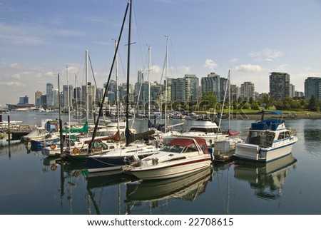 Downtown Vancouver skyline from Coal Harbour - stock photo