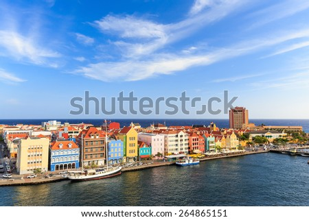 Downtown Willemstad, Curacao, Netherlands Antilles - stock photo