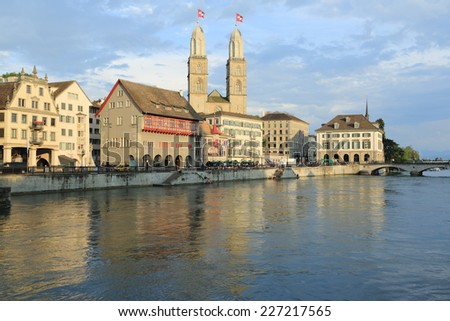 Downtown Zurich and Grossmunster Cathedral, Switzerland - stock photo