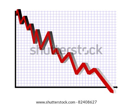 Downward financial graph in red with blue grid, 3D effect - stock photo