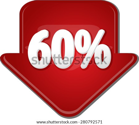 Downward glossy red arrow percent discount sixty 60 - stock photo