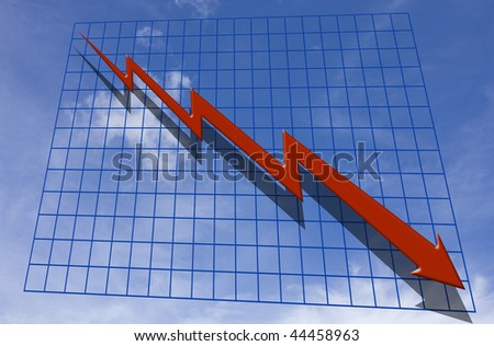 Downward graph with red arrow and a sky background