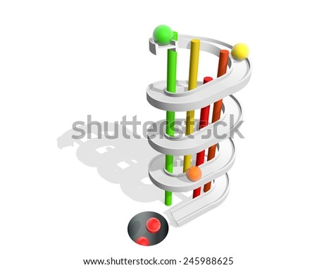 downward spiral, metaphor of addiction  - stock photo