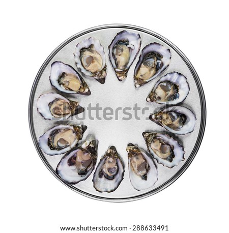 dozen fresh oysters on special cooking and serving metal tray isolated top view - stock photo