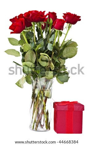 dozen red roses and a gift box dark red rose