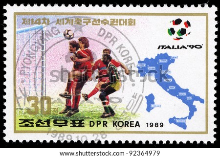 DPR KOREA - CIRCA 1989: A stamp printed by DPR KOREA (North Korea) shows football, circa 1989