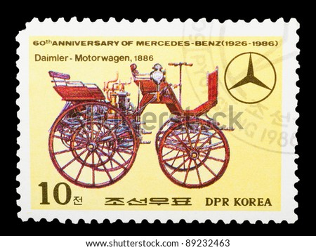 DPR KOREA - CIRCA 1986: A stamp printed by DPR KOREA shows the historic cars. 60 th anniversary of mercedes-benz (1926-1986), series, circa 1986 - stock photo