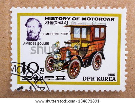 DPR KOREA - CIRCA 1968: A stamp printed in DPR Korea shows Amedee Bollee and car Limousine Model  from 1901, circa 1968