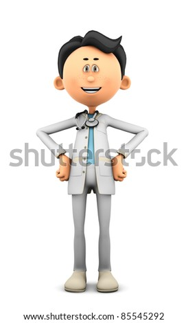Dr Cartoon super pose - stock photo