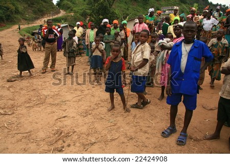 DR CONGO - NOV 2ND : Refugees cross from DR Congo into Uganda at the border village of Busanza in Kisoro district on 2nd November 2008 - stock photo