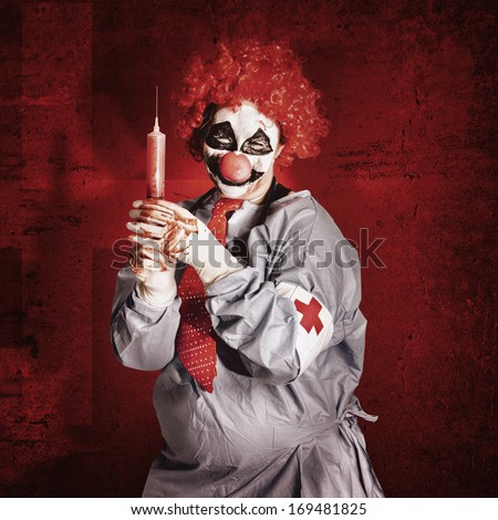 Dr Death clown administering ill vaccination injection with big red hypodermic needle. Vial sickness - stock photo