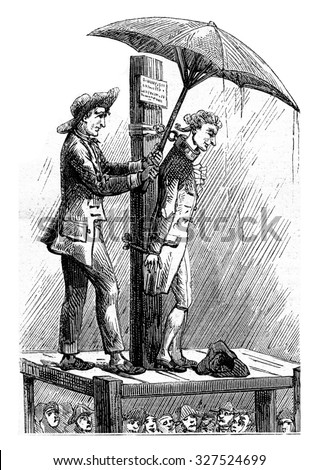 Dr. Shebbeare pillory (1758). Print the eighteenth century, vintage engraved illustration. Magasin Pittoresque (1882).