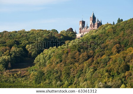 drachenfels castle at the rhine river - stock photo