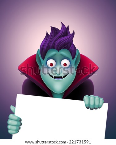 Dracula holding blank banner, funny vampire illustration, Halloween template - stock photo