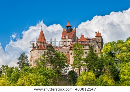 Dracula medieval Castle Bran, the most visited tourist attraction of  Brasov, Transylvania, Romania