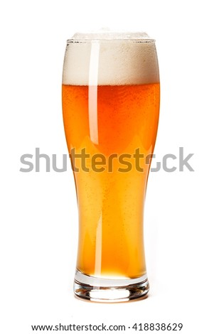 DRAFT BEER. Fresh gold cold and delicious. Beer in curvaceous glass. Good for brewery of oktoberfest commercial. White background - stock photo