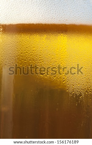 Draft beer in a glass mug with condensation on the glass. - stock photo
