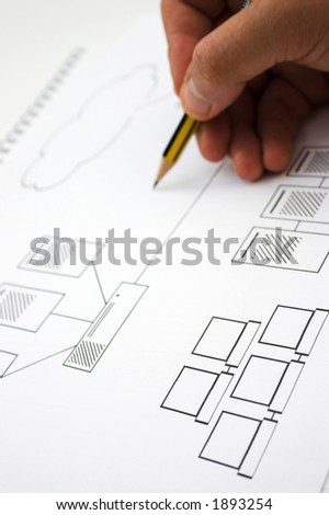 Draft for a new computer network - shallow depth of field - stock photo