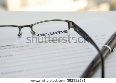 Draft of Resume when Looking through the lens - stock photo