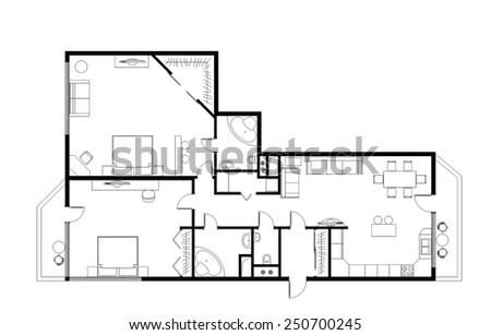 draft plan of the three-room apartment, 120m with furniture