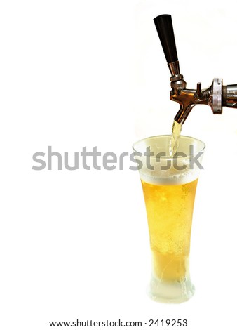 draft pouring beer,white background