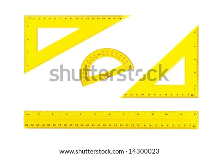 Drafting measurement tools isolated on white background. Path included - stock photo