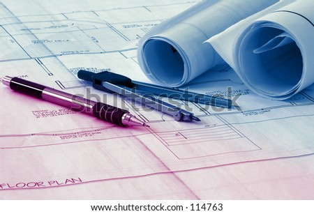 Drafting Related items With Colored Tinting - stock photo