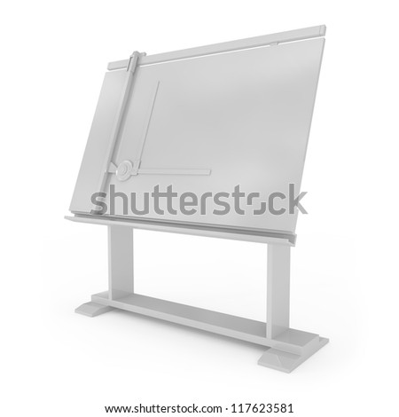 Drafting Table isolated on white - 3d illustration - stock photo