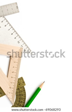 Drafting tools isolated on white - stock photo