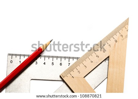 Drafting tools on white background - stock photo