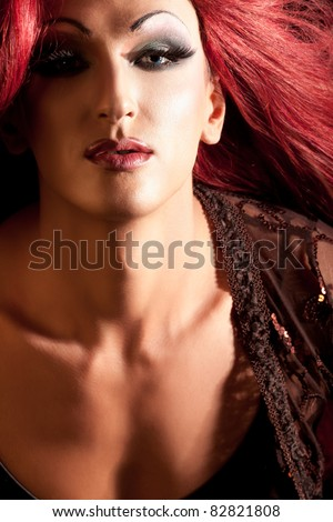 Drag-Queen. Man dressed as Woman. - stock photo