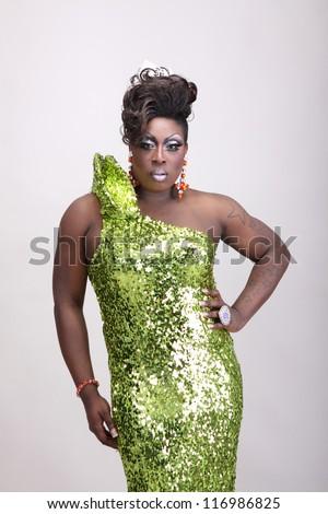 Drag Queen Wearing Green Gown Sequins Stock Photo 116986846 ...