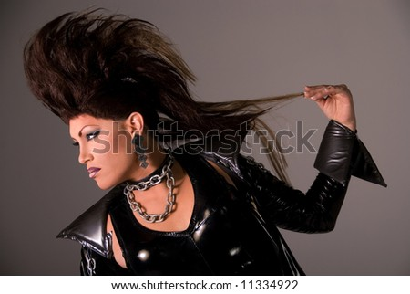 Drag queen with Mohawk.
