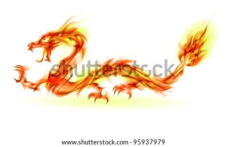 Dragon. Abstract fiery Illustration on white background for design - stock photo