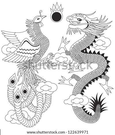 Dragon and Phoenix Symbols for Chinese Wedding with Flaming Ball Clouds Outline Illustration Isolated on White Background Raster Vector - stock photo