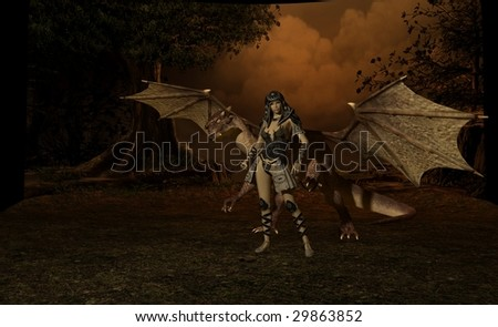 dragon and rider - stock photo