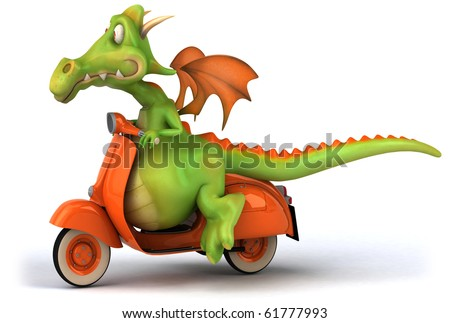 Dragon and scooter - stock photo