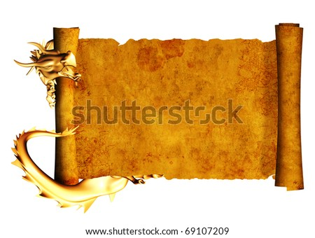 Dragon and scroll of old parchment. Object isolated over white - stock photo