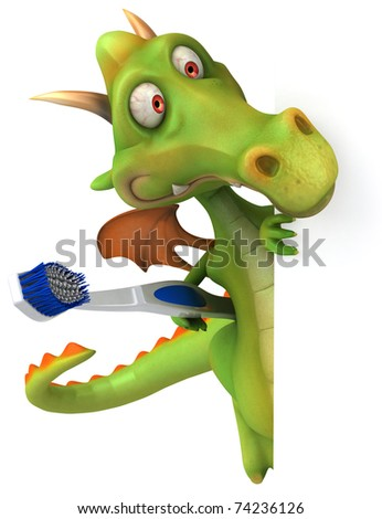 Dragon and toothbrush