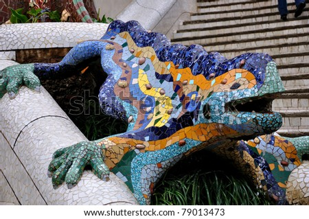 Dragon at the Park Güell - Barcelona, Spain - stock photo