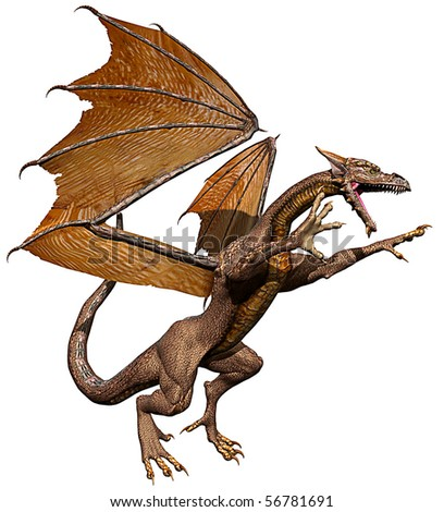 dragon attacking - stock photo