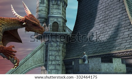 Dragon attacking the castle and fighting with an elf - stock photo