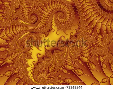 Dragon beads, an extremely detailed rendering in warm orange and yellow shades - stock photo
