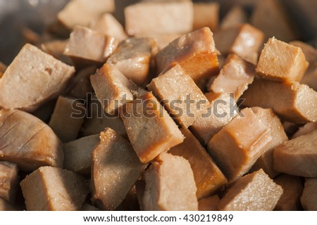 Dragon boat dumplings stuffing-Vegetarian ham wrapped in  glutinous oil rice. - stock photo